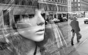 Картинка глаза, стекло, девушка, лицо, отражение, волосы, зеркало, губы, автомобили, уличные, мужские, городские