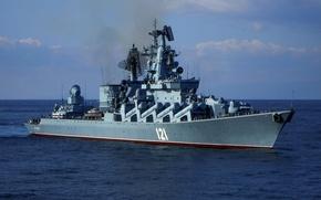"""Картинка ВМФ, крейсер, ракетный, Гвардейский, """"Москва"""", Черноморский Флот, проект 1164"""