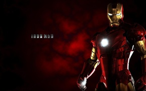 Картинка cinema, red, gun, gold, sky, weapon, power, Iron Man, Machine, Marvel, movie, hero, film, iron, …