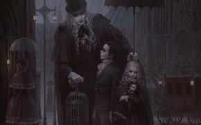 Обои дети, готика, клетка, кукла, зонт, фонари, мужчина, карета