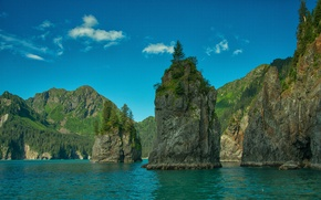 Картинка море, небо, деревья, горы, скалы