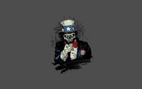 Картинка мертвый, череп, минимализм, жест, цилиндр, американец, мрачный, пропаганда