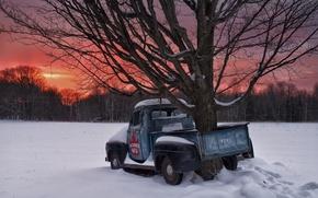 Картинка зима, снег, закат, дерево, Канада, Онтарио, Canada, пикап, Ontario, 1951 Ford F1