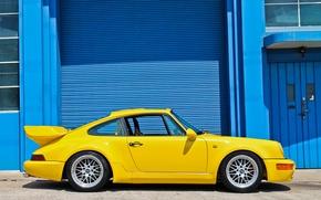 Картинка желтый, здание, Porsche, порше, yellow, 964, building
