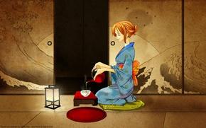 Картинка комната, чай, кимоно, nami, one piece, японская одеда