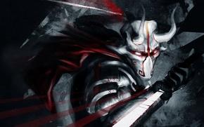 Картинка кровь, меч, маска, арт, рога, Dota 2, Juggernaut, Yurnero