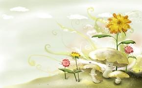 Обои цветы, рисунок, Грибы