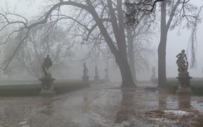 Картинка дорога, туман, парк, весна, дымка, скульптура, слякоть