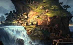 Картинка пейзаж, река, фентези, водопад, деревня