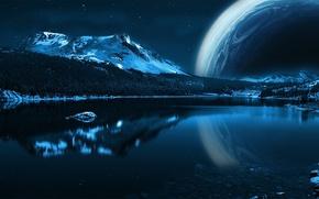 Картинка вода, звезды, горы, планета