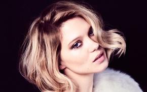 Картинка модель, портрет, макияж, актриса, прическа, блондинка, черный фон, Lea Seydoux, Леа Сейду, Harper's Bazaar, Kristian …
