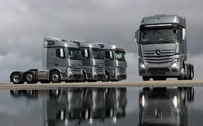 Картинка отражение, Mercedes, Benz, тягачи, Actros