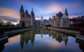 Картинка закат, город, пруд, фото, замок, рассвет, Польша, Moszna