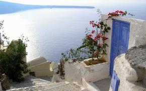 Картинка город, Греция, дверь, ступени, Santorini, Oia