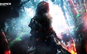 Картинка огонь, джунгли, снайпер