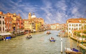 Картинка небо, облака, люди, дома, катер, канал, венеция