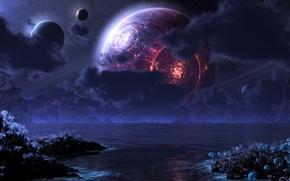 Обои море, луна, digital, планеты, ночь, phraxis moon