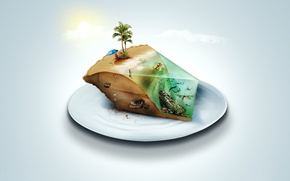 Картинка песок, море, пляж, лето, небо, вода, солнце, облака, зонтик, девушки, океан, отдых, остров, жара, динозавр, …