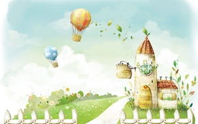 Картинка лето, цветы, воздушный шар, домик, фон. арт
