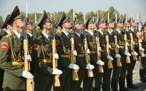 Картинка солдаты, Россия, бойцы, войска, винтовки, гордость, честь, СКС, Почётный караул