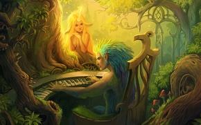 Картинка лес, взгляд, девушка, музыка, арт, существа, пианино, рог, лесные