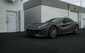 Картинка Ferrari, Black, Matte, Berlinetta, F12