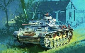 Картинка war, art, painting, tank, ww2, Panzer III, pz kpfw iii ausf m