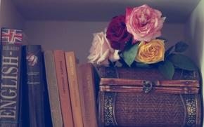 Картинка цветы, книги, розы, шкатулка