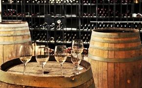 Картинка cups, wine, drinks, barrels