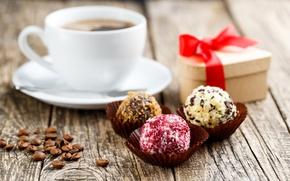 Обои подарок, кофе, праздник, конфеты