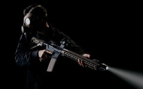 Картинка оружие, солдат, противогаз