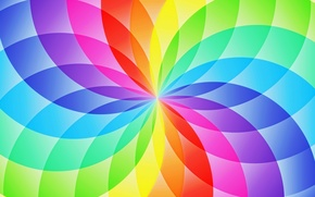 Обои цветок, абстракция, узор, круг, радуга, лепестки, сектор