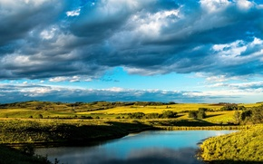 Картинка небо, облака, пруд, поля, Канада, Alberta, луга, Turner Valley