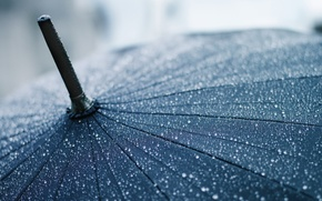 Картинка макро, зонт, зонтик, дождь, капли