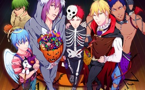 Картинка праздник, крылья, аниме, арт, конфеты, скелет, сладости, тыква, рога, парни, хэллоуин, нимб, костюмы, akubaka, kuroko …