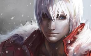 Картинка снег, арт, мех, парень, devil may cry, dante, dantewontdie