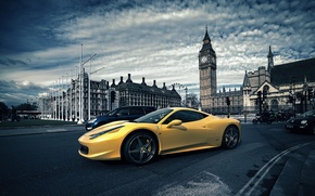 Картинка Лондон, Феррари, Желтая, Италия, Ferrari, 458, Биг Бен, London, Italia