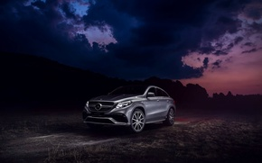 Обои Mercedes-Benz, Clouds, Front, AMG, SUV, Silver, GLE