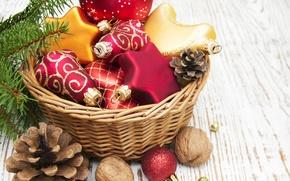 Картинка украшения, шары, корзина, Новый Год, Рождество, Christmas, balls, decoration, Merry
