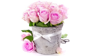 Картинка цветы, розы, букет, ваза, pink, romantic, bouquet, roses, ribbon