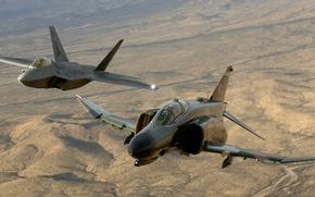 Картинка Самолет, Пустыня, Высота, Полёт, F-22, Raptor, F-4, Phantom II