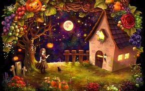 Картинка кошка, девочка, овощи, хижина, halloween, тыквы, кресты, луна, дом, фрукты, урожай, ночь, привидение, звезды, кот