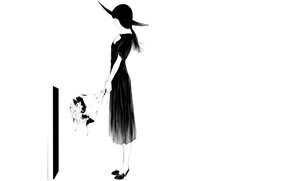 Картинка девушка, букет, шляпа, арт, могила, Sawasawa