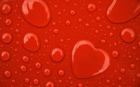Картинка Красный, Капли, Сердце
