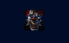 Картинка синий, улыбка, темный, клоун, сигарета, хитрый, clown