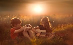 Картинка романтика, гитара, мальчик, девочка