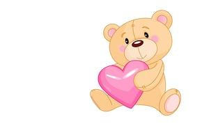 Картинка сердце, арт, мишка, валентинка, детская