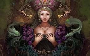 Картинка руки, Yuxuan Li, арт, украшения, розы, рыбы, фэнтези, девушка, цепь