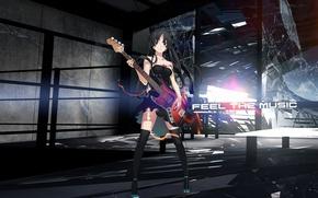 Обои стекло, девушка, рендеринг, надпись, гитара, akiyama mio, k-on!, разбитое