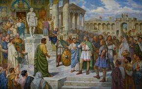 """Картинка масло, картина, холст, """"Прием князя Кия в Константинополе 485 г."""", художник А.О.Орленов"""